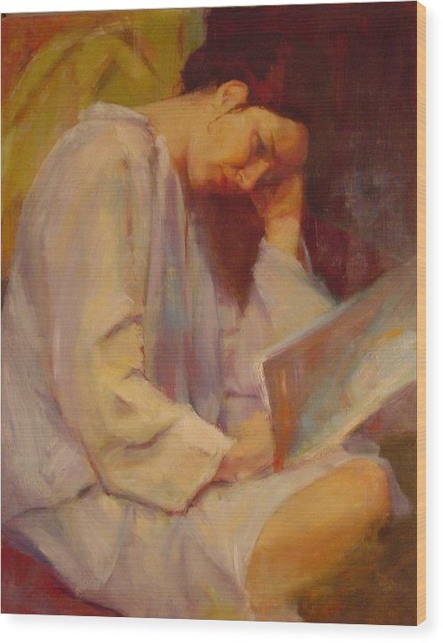 Figure Wood Print featuring the painting Reading in the Blue Robe by Irena Jablonski