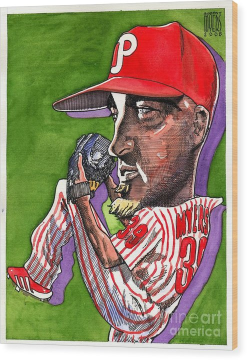 Sports Art Wood Print featuring the painting Phillies by Robert Myers