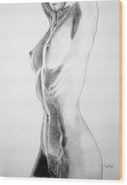 Female Wood Print featuring the drawing Female Nude Three by George Wade