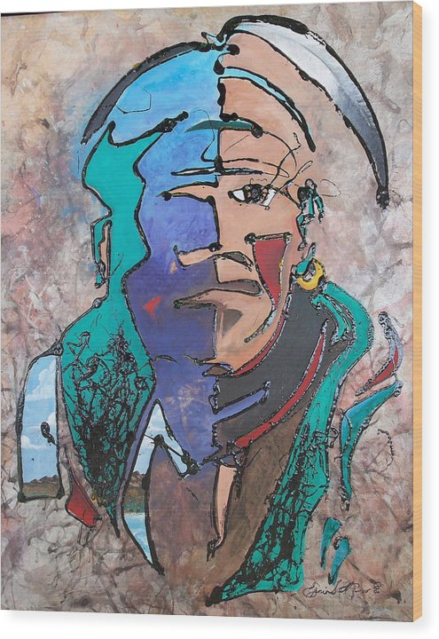 Abstract Wood Print featuring the painting Nigel The Guardian by Ernie Scott- Dust Rising Studios