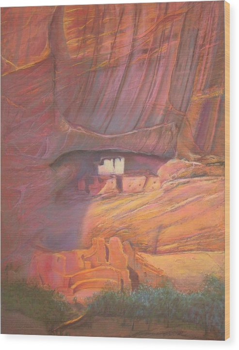 White House Rock Anasazi Indians  Mountains Sunset Monunument Pastel Painting Pastel Painting Realism Mountains Pamela Mccabe Pamela Mccabe Southwest Art Indian Art Landscape Indian Art White House Rock Southwest Art Pastel Painting Pam Mccabe Pamela Mccabe Pamela R Mccabe Southwest Art Original Art Work For Sale Origingal Pastel Painting For Sale Southwest Art For Sale Original Art Wood Print featuring the pastel White House Rock Home Of He Anasazi He Anasazi by Pamela Mccabe