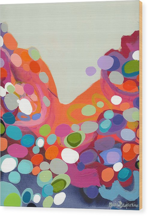 Abstract Wood Print featuring the painting Spoonful Of Joy by Claire Desjardins