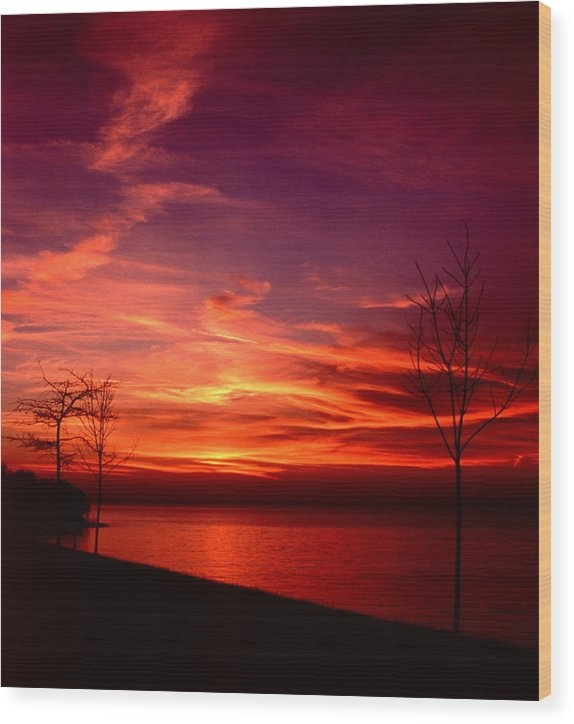 Sunsets Wood Print featuring the photograph 111701-25 by Mike Davis