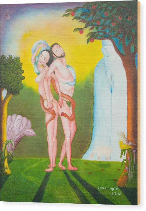 Wood Print featuring the drawing Adam And Eve by Volmar Etienne