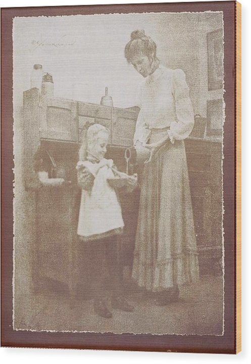 Children Wood Print featuring the photograph Mothers Helper by David Hicks