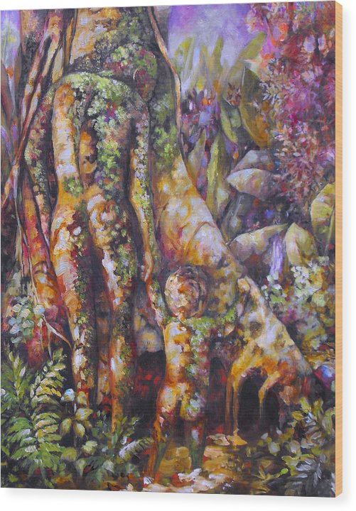 Magical Realism Wood Print featuring the painting Seed Pod by Monica Linville