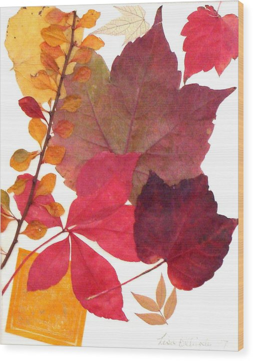 Fall Wood Print featuring the mixed media My Colors by Lisabeth Billingsley