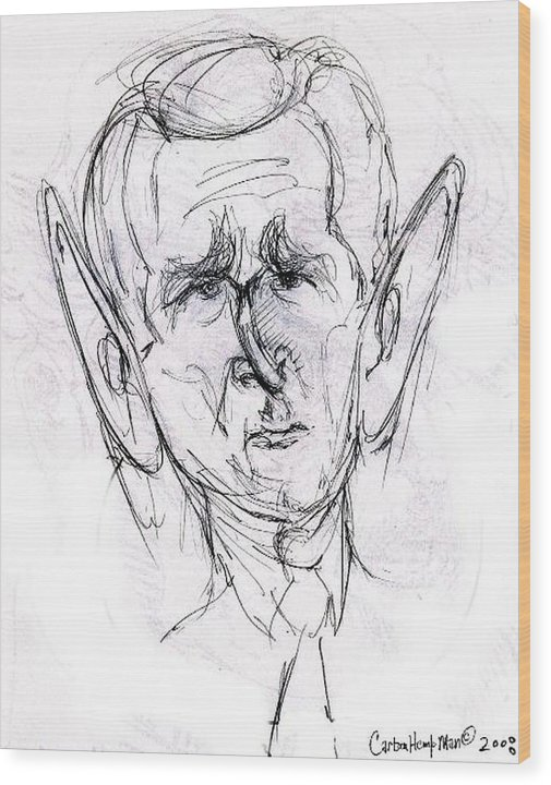 Political Cartoon President Bush Graphite Paper Wood Print featuring the drawing George W. Bush by Cartoon Hempman