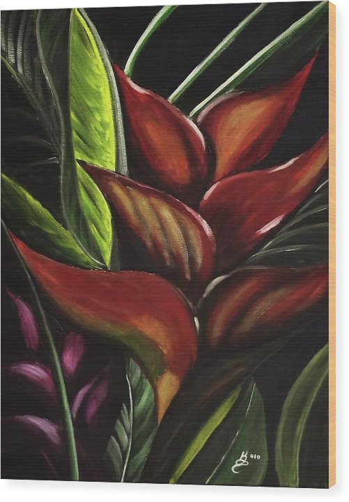 Acrylic Wood Print featuring the painting Heliconia Flower by Kim Selig