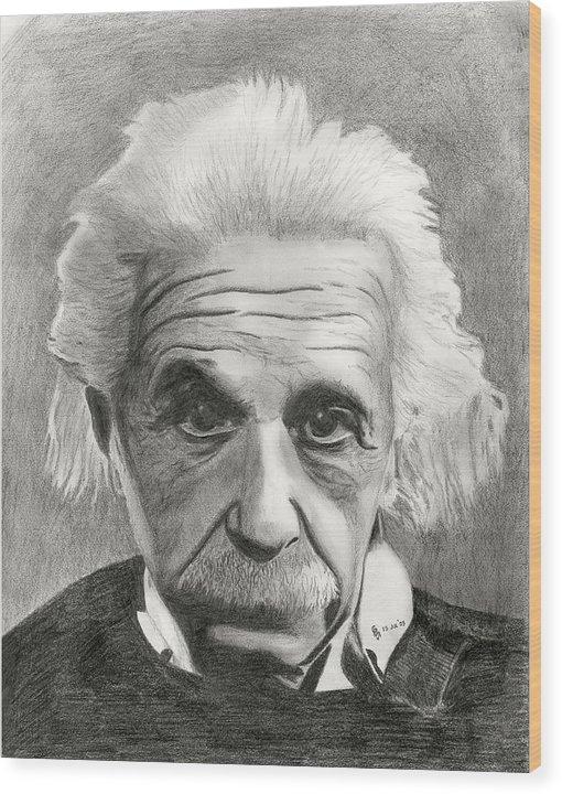 Einstein Wood Print featuring the drawing Einstein's Eyes by Charles Vogan