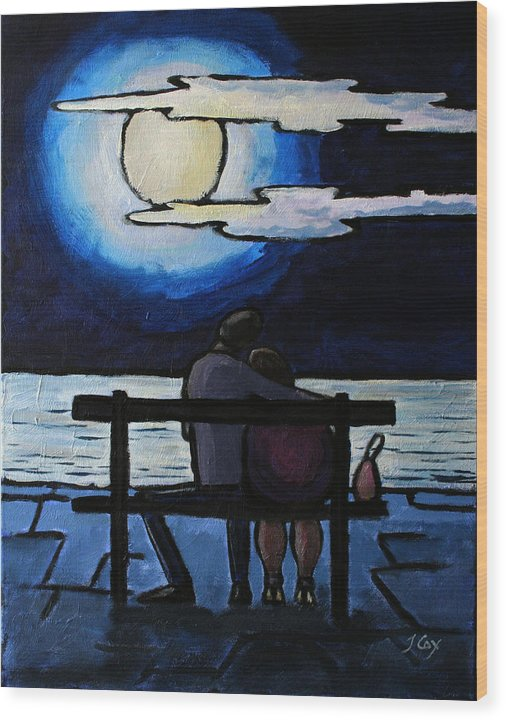 Figure. Moonlight. Evening. Couple. Seascape. Wood Print featuring the painting Sitting In The Moonlight. by John Cox