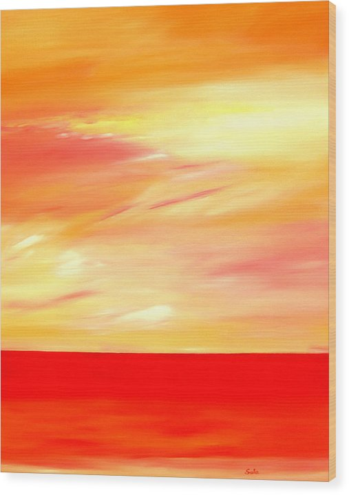 Caribbean Wood Print featuring the painting Sorbet Sky by Sula Chance
