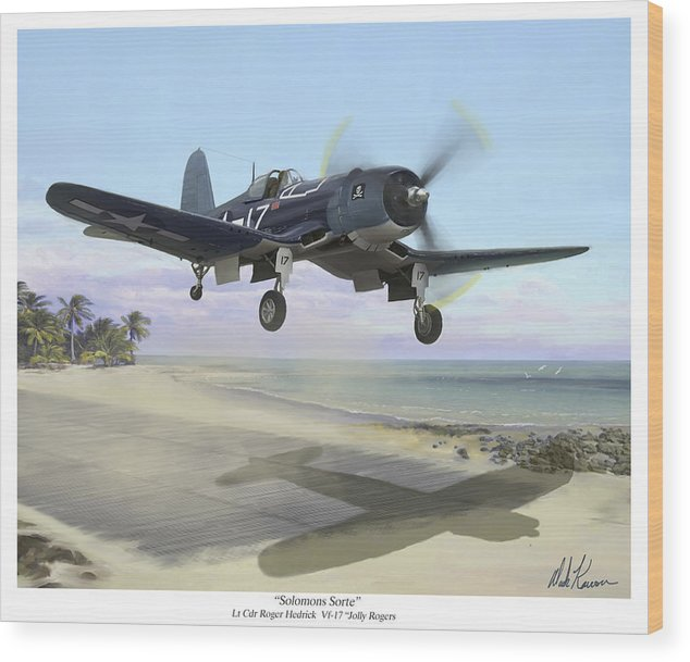 Airplane Wood Print featuring the painting Corsair Takeoff VF-17 Jolly Rogers by Mark Karvon