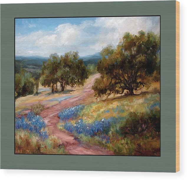 Texas Landscape Hill Country Bluebonnets Wood Print featuring the painting A Few Bluebonnets by Lilli Pell