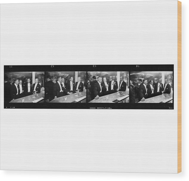 Jimmy Stewart Wood Print featuring the photograph Four Kings Of Hollywood by Slim Aarons