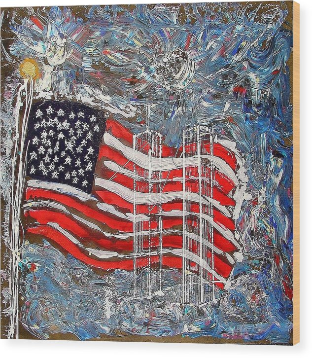 American Flag Wood Print featuring the painting 9/11 Tribute by J R Seymour