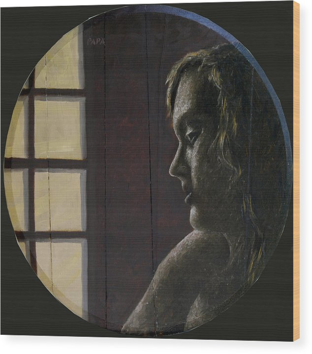 Figurative Wood Print featuring the painting By the Window by Ralph Papa