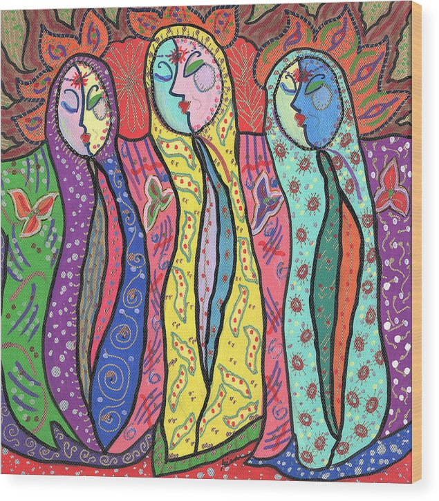 Colorful Wood Print featuring the painting Gypsies by Sharon Nishihara