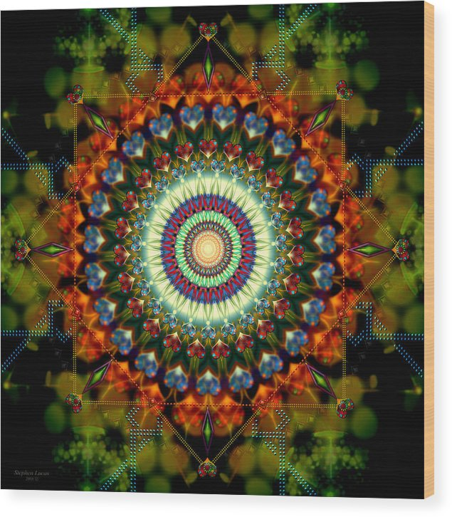 Mandala Wood Print featuring the digital art Mandala of Loves Journey by Stephen Lucas