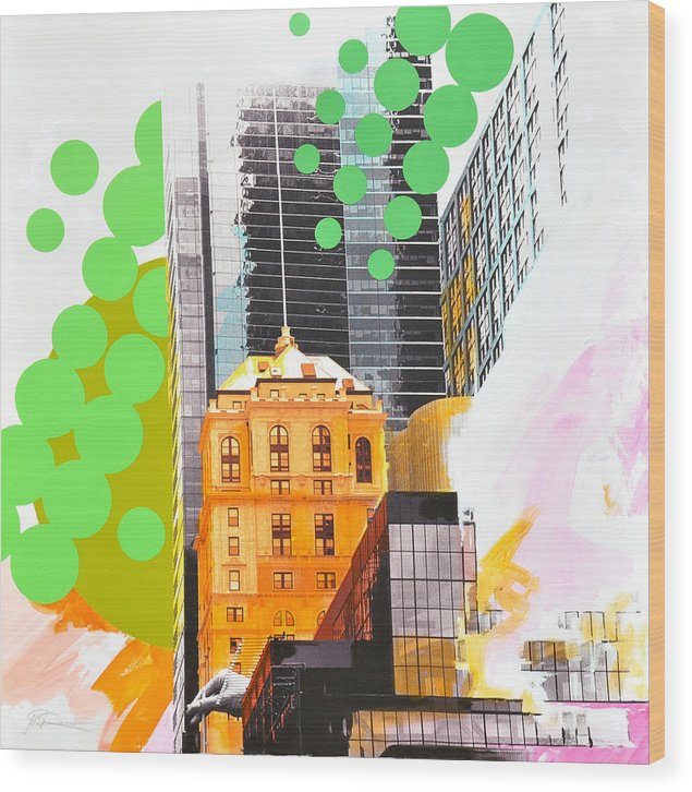 Ny Wood Print featuring the painting Times Square NY Advertise by Jean Pierre Rousselet