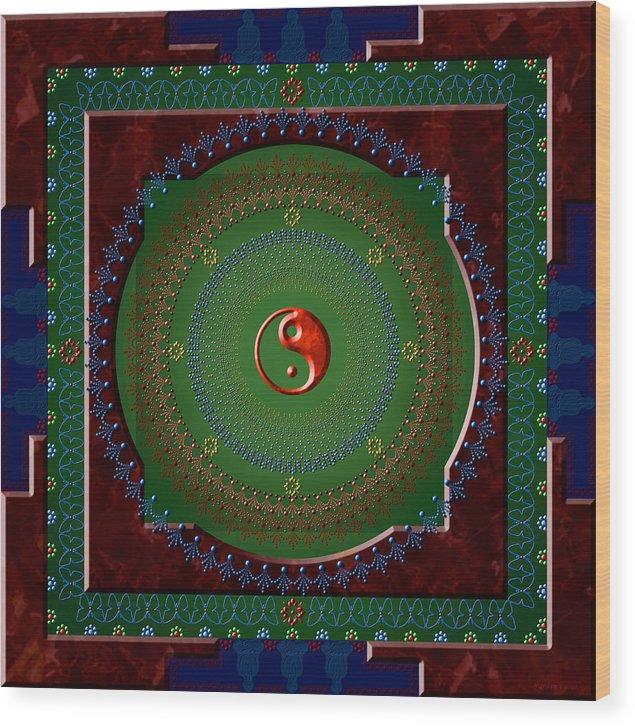 Mandala Wood Print featuring the digital art Yin Yang by Stephen Lucas