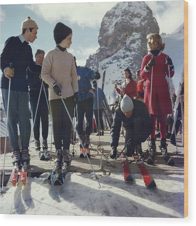 Skiing Wood Print featuring the photograph Cortina Dampezzo by Slim Aarons
