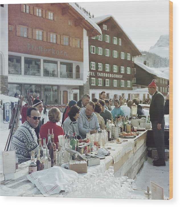 People Wood Print featuring the photograph Lech Ice Bar by Slim Aarons