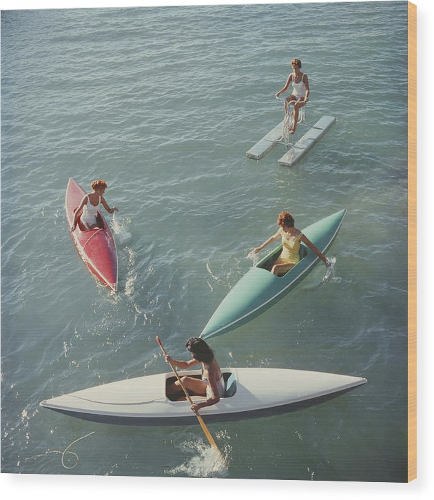 Pedal Boat Wood Print featuring the photograph Lake Tahoe Trip by Slim Aarons