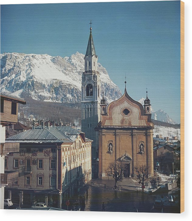 European Alps Wood Print featuring the photograph Cortina Dampezzo by Slim Aarons