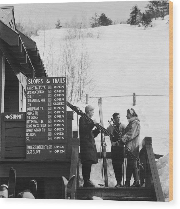 Skiing Wood Print featuring the photograph New England Skiing by Slim Aarons