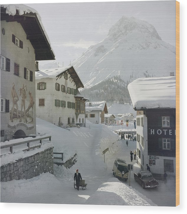 People Wood Print featuring the photograph Hotel Krone, Lech by Slim Aarons