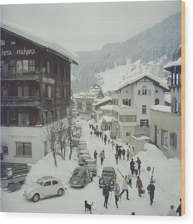 Skiing Wood Print featuring the photograph Klosters by Slim Aarons