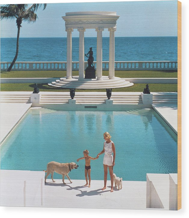Pets Wood Print featuring the photograph Nice Pool by Slim Aarons
