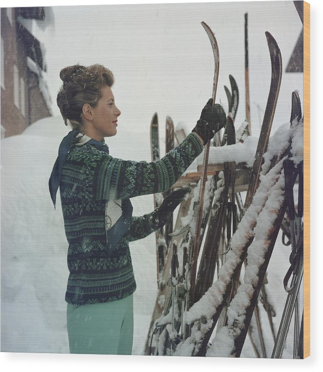 Skiing Wood Print featuring the photograph Skiing Princess by Slim Aarons
