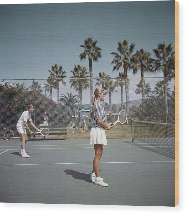 Tennis Wood Print featuring the photograph Tennis In San Diego by Slim Aarons
