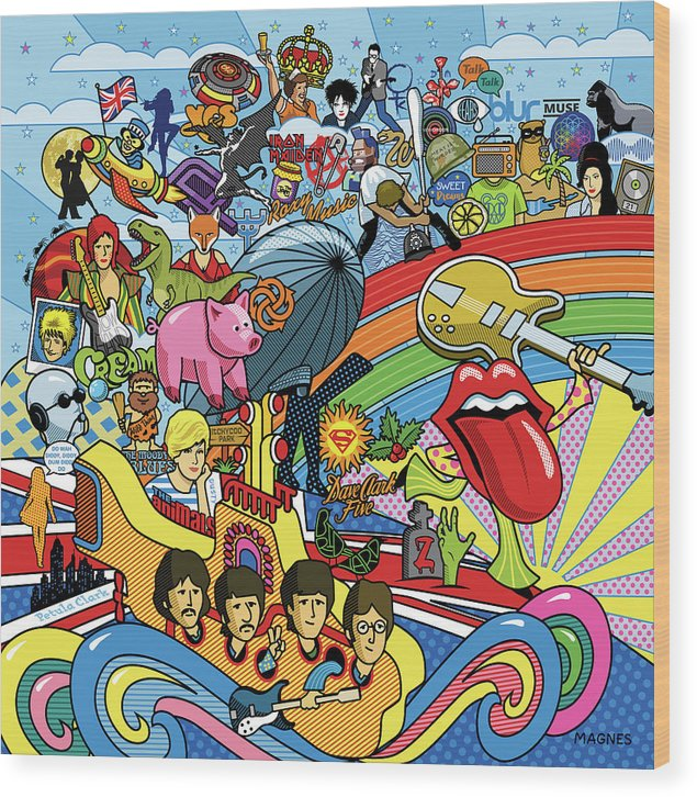 Music Wood Print featuring the digital art British Invasion 64 by Ron Magnes