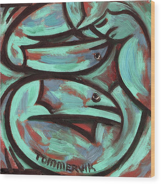 Fish Wood Print featuring the painting Tommervik Abstract Fisherman Art Print by Tommervik