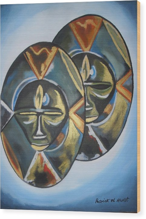 African Art Wood Print featuring the painting African Double Mask by Patrick Hunt