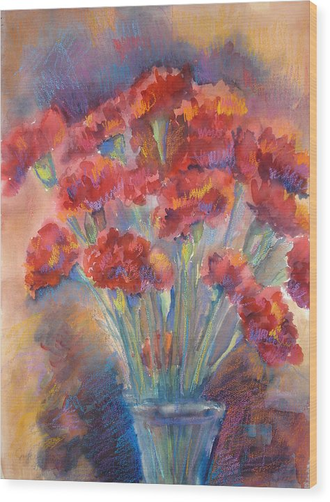 Flowers Wood Print featuring the painting Carnations by Joyce Kanyuk