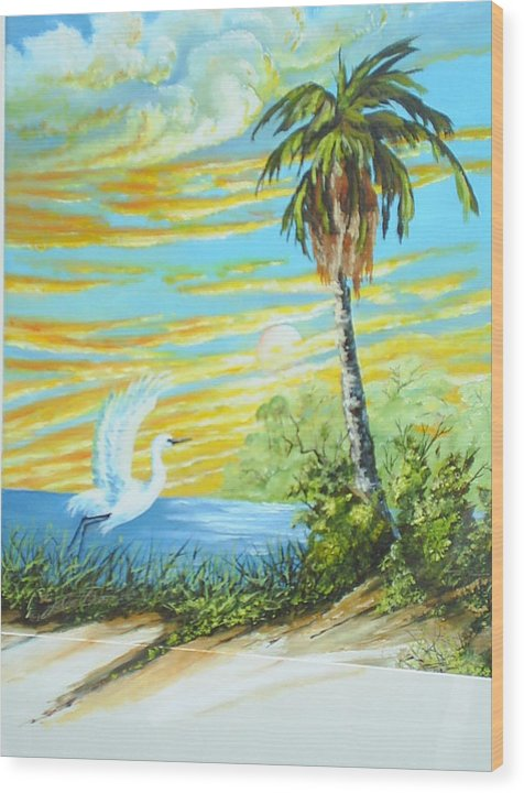 Landscape Wood Print featuring the painting East Lake by Dennis Vebert