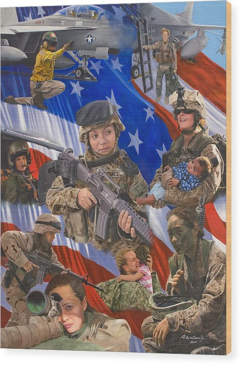 War Wood Print featuring the painting Fair Faces of Courage by Karen Wilson