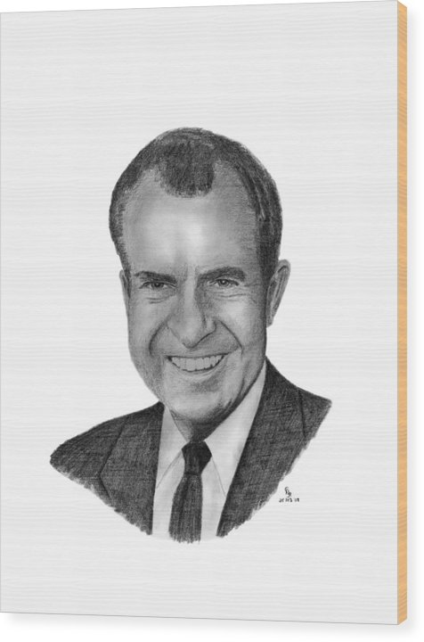 President Wood Print featuring the drawing President Richard Nixon by Charles Vogan