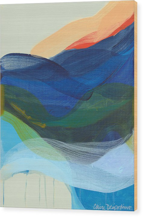 Abstract Wood Print featuring the painting Deep Sleep Undone by Claire Desjardins