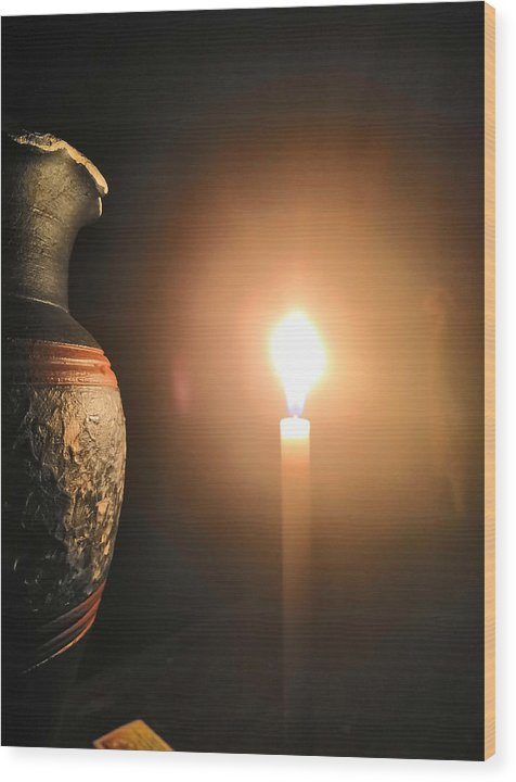 Candle Light Wood Print featuring the photograph Light in the dark by Ian Batanda