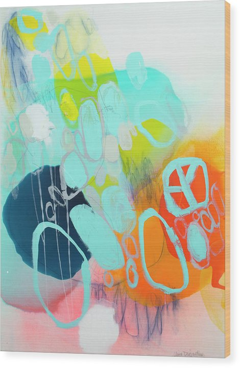 Abstract Wood Print featuring the painting The Right Thing by Claire Desjardins