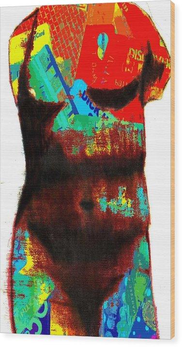 Nude Wood Print featuring the digital art Body of Credit by Jennifer Ott