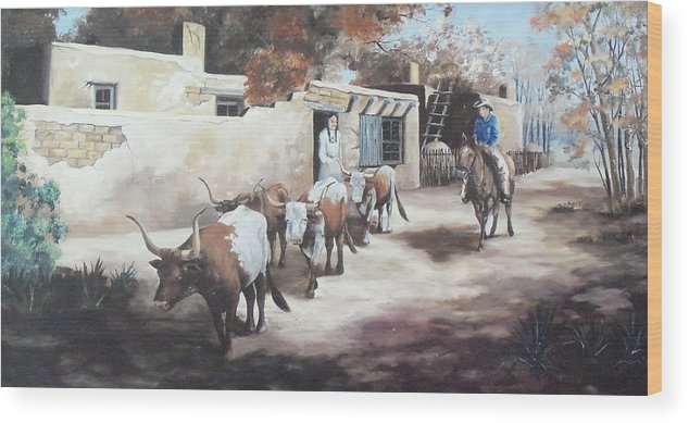 Hopi Indian Wood Print featuring the painting A Taos Trail Ride by Wanda Dansereau
