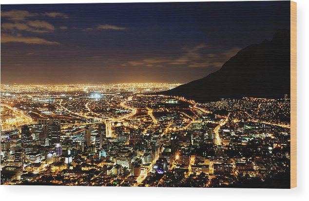 Scenics Wood Print featuring the photograph Cape Town, South Africa By Night by Clicknique