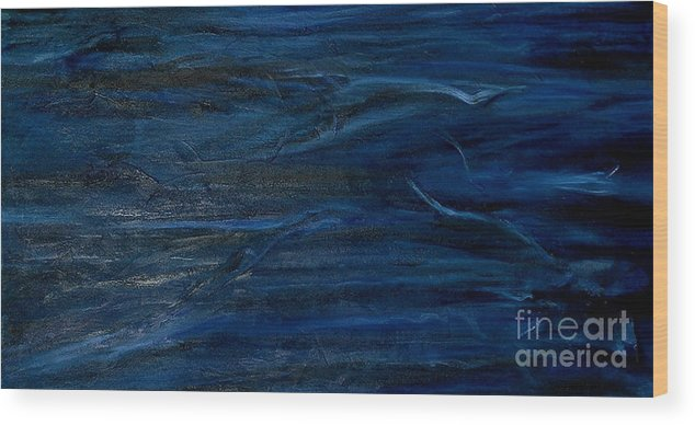 Abstract Wood Print featuring the painting Immense Blue by Silvana Abel