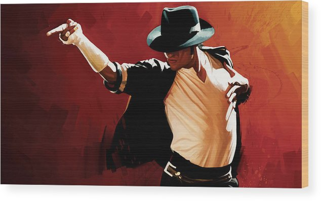 Michael Jackson Paintings Wood Print featuring the painting Michael Jackson Artwork 4 by Sheraz A